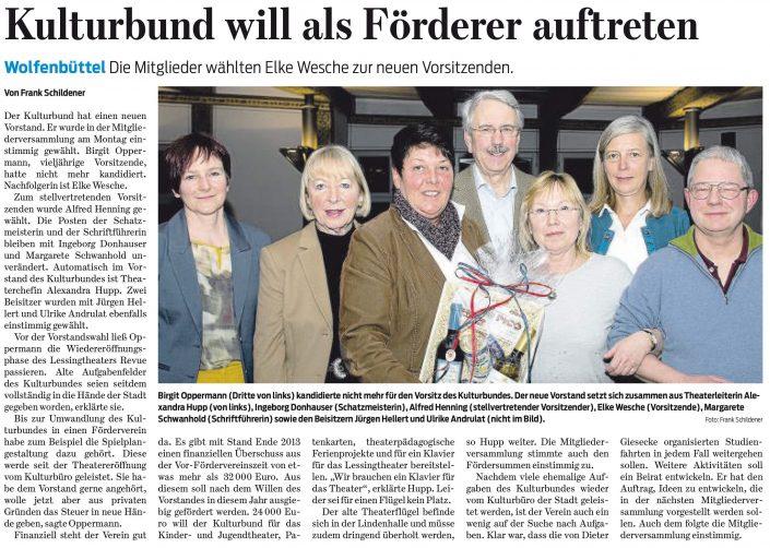 Kulturbund der Lessingstadt Wolfenbüttel e.V. - Presseartikel neuer Vorstand