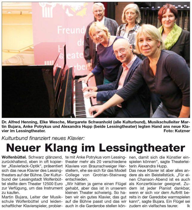 Kulturbund der Lessingstadt Wolfenbüttel e.V. - Presseartikel neues Klavier im Lessingtheater