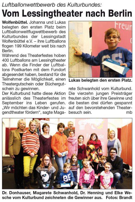 Kulturbund der Lessingstadt Wolfenbüttel e.V. - Presseartikel Luftballonwettbewerb