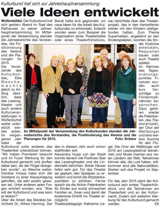 Kulturbund der Lessingstadt Wolfenbüttel e.V. - Presseartikel Jahreshauptversammlung