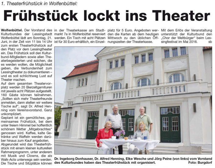 Kulturbund der Lessingstadt Wolfenbüttel e.V. - Presseartikel Theaterfrüstück lockt ins Theater