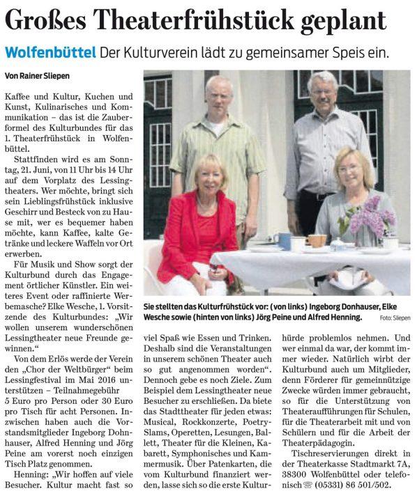 Kulturbund der Lessingstadt Wolfenbüttel e.V. - Presseartikel Planung Theaterfrüstück
