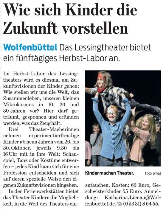 Kulturbund der Lessingstadt Wolfenbüttel e.V. - Presseartikel Theaterlabor