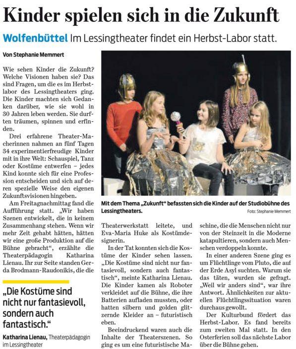 Kulturbund der Lessingstadt Wolfenbüttel e.V. - Presseartikel Theaterlabor Future 1