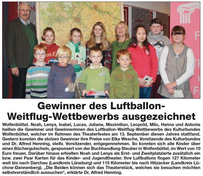 Kulturbund der Lessingstadt Wolfenbüttel e.V. - Presseartikel Luftballon Weitflug Wettbewerb