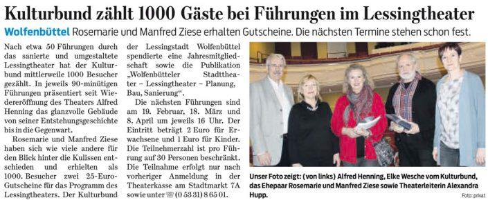 Kulturbund der Lessingstadt Wolfenbüttel e.V. - Presseartikel Führungen durch das Lessingtheater