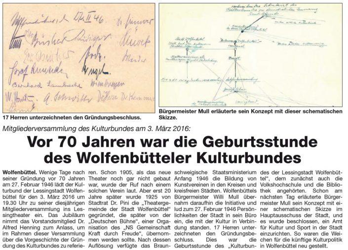 Kulturbund der Lessingstadt Wolfenbüttel e.V. - Presseartikel 70 Jahre Kulturbund