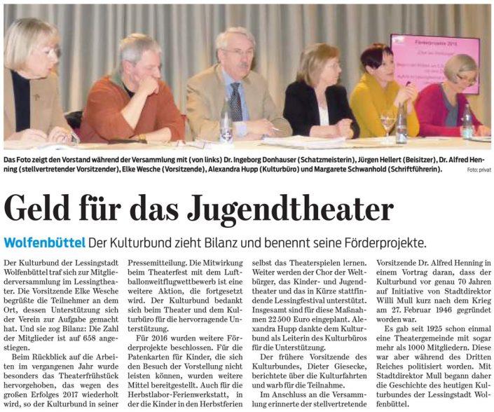 Kulturbund der Lessingstadt Wolfenbüttel e.V. - Presseartikel Mitgliederversammlung