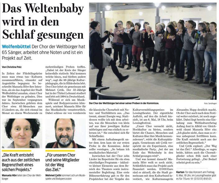 Kulturbund der Lessingstadt Wolfenbüttel e.V. - Presseartikel Chor der Weltbürger