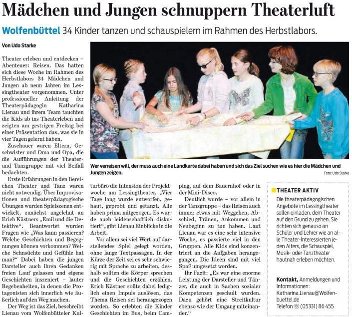 Kulturbund der Lessingstadt Wolfenbüttel e.V. - Presseartikel Herbstlabor