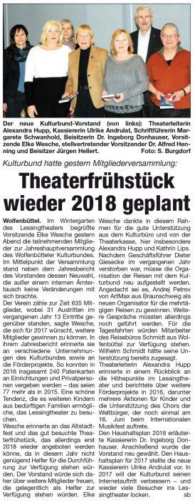 Kulturbund der Lessingstadt Wolfenbüttel e.V. - Presseartikel Theaterfrühstück