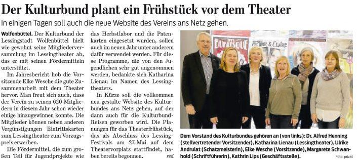 Kulturbund der Lessingstadt Wolfenbüttel e.V. - Mitgliederversammlung 2018